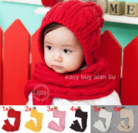 Wholesale Kids baby boys amp girls knitted hat and scarf set one piece beanie cap colors