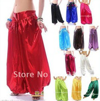 Wholesale Belly Dance Satin Harem Pants Tribal Style Bollywood Dancing Costume Stage Wear