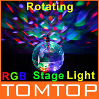 Wholesale Mini Rotating LED RGB Crystal Magic Ball Effect Light Disco DJ Stage Lighting EU Plug H8899EU