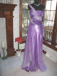 Wholesale Custome made Fashion A Line One Shoulder Floor length Elastic satin Celebrity Dresses w