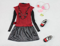 1-4y boutique clothes - 2012 Winter Baby Red Girl Sweaters Leather Kids Skirt T Shirt Necklace Kids Dresses Boutique Clothes