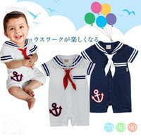 Wholesale 6pcs cool baby boys summer short seleeve romper navy style Sailor white amp navy blue