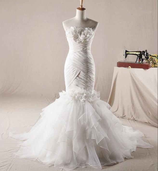 Real sample strpaless trumpet corset pleat mermaid slim for Wedding dresses mermaid cut