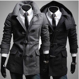 Wholesale New Men s Coat Outerwe Men s Slim Ox horn Buckle Hooded Lapel Coat Outerwear