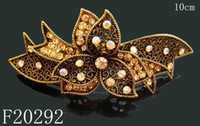 Pink Bohemian Women's 2012 new jewelry hair accessories Bronze flower crystal rhinestone hair clip hair barrette - F20292
