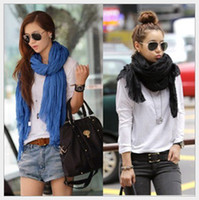 Solid color cotton shawls and scarves - Fashion Womens Scarves Candy colored Cotton and Linen Folds Female Scarf Air conditioning shawls