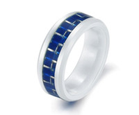 Wholesale Blue Carbon Fiber Ceramic Wedding Ring Diamond Ceramic Stainless Steel Jewelry Christmas Gift