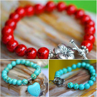 Wholesale Ethnic beaded bracelet made from Tibetan silver and synthetic turquoise rosary women bracelet gift