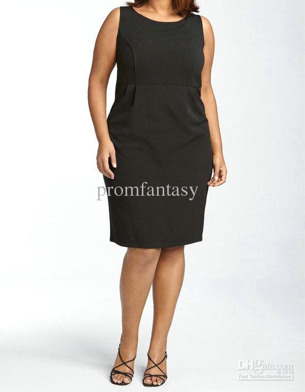Women'S Simple Black Dresses Plus Size 68