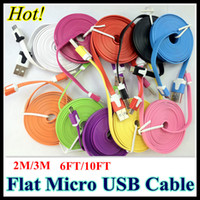 Universal   6FT 10FT V8 Flat Micro USB Cable Noodle 2M 3M Colorful Charger Cord for Phone Samsung HTC 100pcs