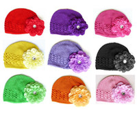 Wholesale 10pcs Infant Kufi Hats Toddler Crochet Beanie Knitted Baby Caps inch Peony Flower Hair Clip