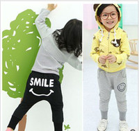 Wholesale Kids Pant Printed Smile face children s wear pants girl boy pencil pants child harlan pant