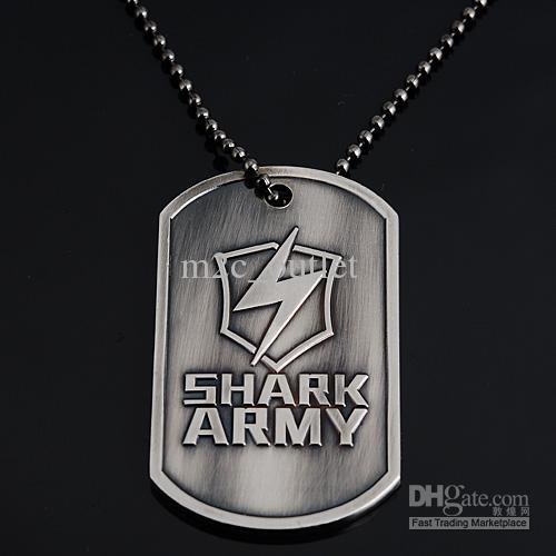 necklace pendant shark army military steel engraving dog