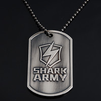 Wholesale Necklace Pendant Shark Army Military Steel Engraving Dog Tag ZC098