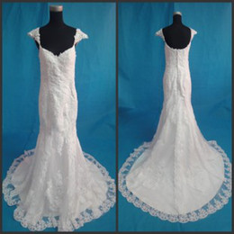 Wholesale New Sexy Cap Sleeve Sweetheart Lace Appliques Chapel Train Mermaid Wedding Dresses Bridal Gowns