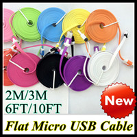 Wholesale Dual Color Flat Noodle Micro USB Cable M M V8 pin Charger Cord Universal for Samsung Galaxy S3 S4 Note HTC Mobile Phone FT FT New