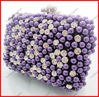 Wholesale 2015 Beautiful Purple Red Pink White Beaded Wedding Hand Bags Bridal Clutch Evenig Party Handbags Purses