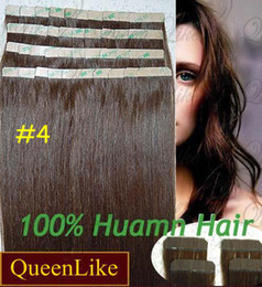 Wholesale 18 quot set g set Remy Human Hair Skin Weft Hair Tape Extensions Dark Brown sets