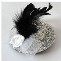 Wholesale 10 Mini Top Beaded Flower Veil Feathre Hat Hair Clips Hair Accessories