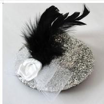 Wholesale 10 Mini Top Beaded Flower Veil Feathre Hat Hair Clips Hair Accessories