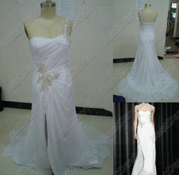 Wholesale Faddish One shoulder Baeza Wedding Dresses Spring Trends Sheath Split Front Beaded Chiffon Gown