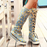Knight Boots cowboy boots - 2012 Korean Fashion Floral Gaotong flat bottomed boots casual cowboy boots Item