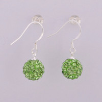 Wholesale 15pairs Fashion Women s Earrings Silver mm Dangle Disco Ball Crystal Hanging Earrings Green