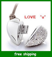 Wholesale Hot USB Flash Memory Drive Crystal Heart Loving couple gifts flash USB G drive pen