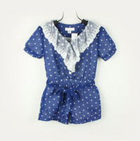 Baby girl kids one piece jumpsuits lace polka dots chiffon s...