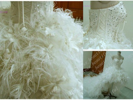 Wholesale Sweetheart Floor Length Feather Dress - Luxury Mini Short Strapless Sweetheart Organza Feathers Wedding Dresses Wedding Dress Wedding Gown