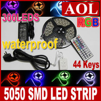 Wholesale 5050 SMD RGB m LED Strip Light leds meter Waterproof IP65 key IR Remote Power Supply V A