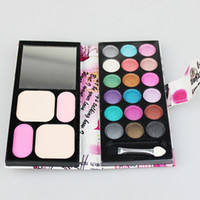 Halloween   12pcs lot 18 color Eyeshadow +2 color Blush+2 Foundation Small Make Up Kit Palatte 8814D