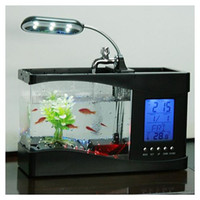 Wholesale Mini USB LCD Desktop Lamp Light Fish Tank Aquarium LED Clock black white two colors freeshipping