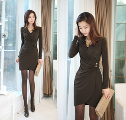 Wholesale Hot new dress newest women dress long sleeve dress sexy dress skinny waist S M L XL F0216