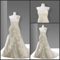 Cheap Reference Images Wedding Dresses Best One-Shoulder Organza Wedding Gowns