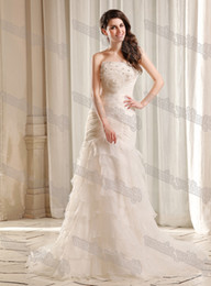 Wholesale Real Photo Trumpet Mermaid Designer New Wedding Dresses Beads Flower Empire Bridal Party Gowns