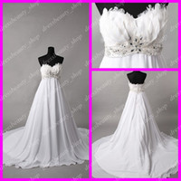 Wholesale Actual Images Feather Beads Empire Chiffon Wedding Dresses White Sweetheart Maternity Bridal Gown