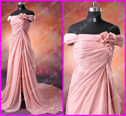 Wholesale Actual Images Hot Sell Anna Kendrick Pink Celebrity Dresses Cheap Chiffon Off Shoulder Lace Accent
