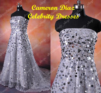 Actual Images Oscar Awards Strapless Oscar Red Carpet Copy Cameron Diaz Silver Shiny Celebrity Dresses A-Line Strapless Evening Prom Gown