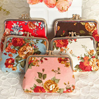 Wholesale 2015 New Fashion vintage floral Women Lady Girl Purse Wallet Coin Wedding gift Bag