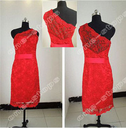 Wholesale 2012 New Sexy One Shoulder Sheath Red Lace Short Knee Length Celebrity Dresses EWL225