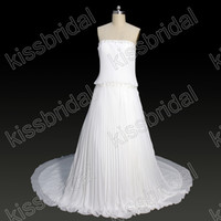 Wholesale 2012 Best Selling Strapless Beaded Appliques Floor Length Sleeveless A line Wedding Dresses Chiffon