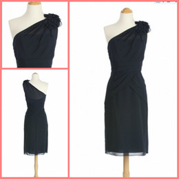 Best selling black cheap one shoulder ruched knee length chiffon nice bridesmaid dress party dresses