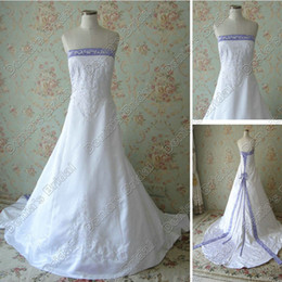 2017 Strapless A-line Embroidery Wedding Dresses Ivory White Satin Purple Neck ribbon Actual Images Bridal Gowns DB268