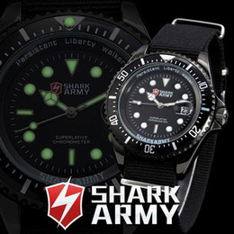 Wholesale SHARK ARMY Black Dial Auto Date Day Display Relogio Masculino Black Stainless Steel Case Nylon Strap Men Wrist Wrap Gift Sport Watch SAW015
