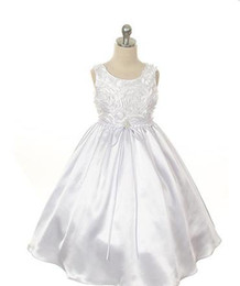 Wholesale 2012 flower girl dresses beach A Line ankle length Bowknot Applique Satin Jewel Hot fashion M110