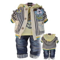 Wholesale Baby Boy s piece set Outerwear long sleeve T shirt jeans baby Autumn Spring Cartoon suit