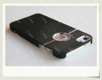 Wholesale 2012 Deluxe Chrome Hard Case Back Cover Casing with Metal Ring Rear Round Hole for Apple iphone G