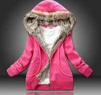 Wholesale 2014 Thick Hoodies Women s Hooded Sweater Jacket Coat colors Coats size M L XL