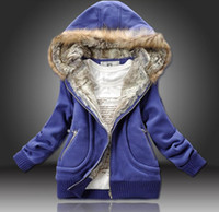 Wholesale 2012 Drop Ship Thick Hoodies Women s Hooded Sweater Jackets Coat Red yellow blue Coats size M L XL